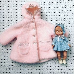 1950s Vintage Marshall Fields pink furry coat